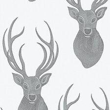 CIERVOS Papel Pintado - gris / Crema Rasch 273717 Highland