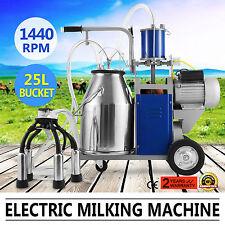 Milking Machine For Farm Cows W/Bucket 25L 2 Plug Milker 1440RPM AU stock