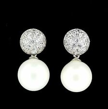 Sterling Silver Bridal Wedding 12mm Glass Pearl & CZ Drop Earrings RRP $105