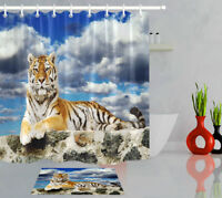 Bathroom Decor Waterproof Fabric Shower Curtain Set Tiger Lay in the Storm Sky