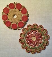 Lot of 2 Vintage Straw Trivets, Woven Raffia, Boho decor, Green, Pink, Salmon