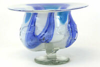 "11"" Blue And White Art Deco Molded Glass Bowl"