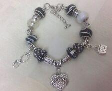 Handmade Black Silver White Luxury Chunky NURSE Murano Glass Bead Charm Bracelet