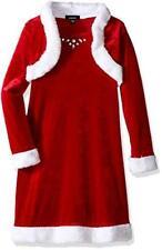 ZUNIE GIRLS'  GIRLS' VELVET SANTA DRESS with FAUX FUR SHRUG and JEWELS, size 5
