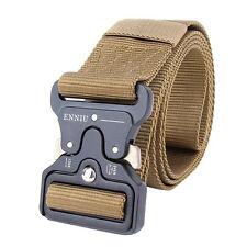 Cool Men Outdoor Hiking Sports Waistband Army Military Nylon Buckle Belt Khaki
