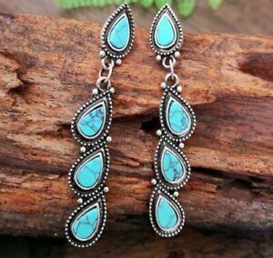 Silver Turquoise Blue Dangle Earrings