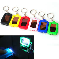 Mini Solar Power Rechargeable 3LED Flashlight Keychain Light Lamp Torch Gift h