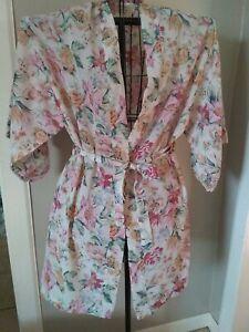 Vtg Victoria's Secret Gold Label Floral Short S3mi Sheer Robe Sz Small