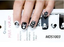 16x SKULL Nail Wrap Patch Glossy Self-adhesive Decals Stickers Halloween MDS1003