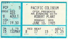 Robert Plant Original 1985 Vancouver Ticket Stub Pacific Coliseum led zeppelin