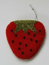 Beaded Strawberry  Purse - Red - Green - Black