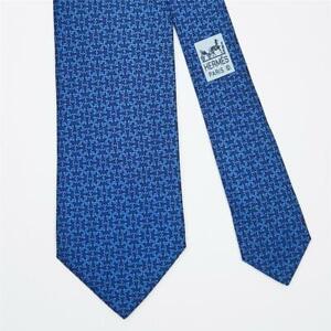 HERMES TIE 605916 SA H Knot on Dark Blue Skinny Silk Necktie