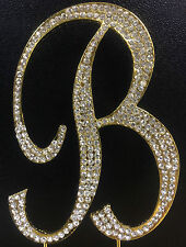 "GOLD Plated Rhinestone  Monogram Letter ""B""  Wedding Cake Topper  5"" inch high"