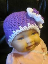 Hand crocheted girls newborn hat- Purple and white sparkle baby hat