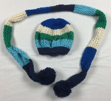 Women's Old Navy Hat & Scarf Set Blue Green & White Stripes