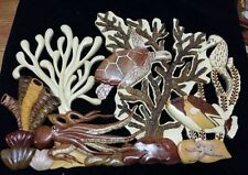 XL Hawaiian C8a Coral Reef Honu Turtle Octopus Handcrafted Wood Art Wall Hanging
