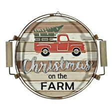 """""""Christmas on the farm� Red Truck Hanging/Tabletop Serving Tray New Beautiful!"""