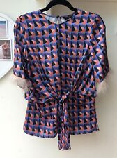 Zara Woman Blue and Pink Geo Print Top Feather Trim Sleeves, Size XS, UK 6-8 New