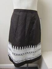 Anne Klein Silk/Linen Textured Embroidered Skirt 12 Brown NWT $250