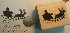 Santa and reindeer rubber stamp P56