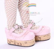 "Mary Jane Ruffle Heart Lolita Platform Shoes Pink for 14"" Kish/17"" Goodreau BJD"