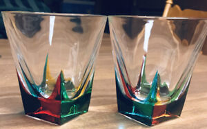 PAIR OF RCR Italy Fusion Genuine Crystal Rocks COLOURS Double Old Fashioned