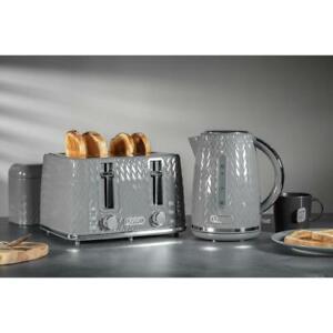 JUG Kettle & 4 Slice Toaster Stylish Embossed Grey/Silver Trim Breakfast Set UK