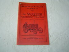 Massey Harris wallis tractor parts catalog book manual list