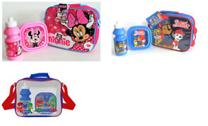 Kids Character School Insulated Lunch Box Sandwich Bag Set And Bottle with strap