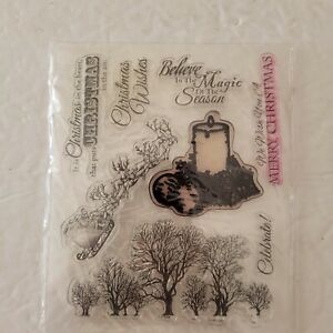 Believe In The Magic Clear Unmounted Stamp Set of 8 Christmas Santa Sleigh