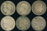 SIX DIFFERENT FRENCH SILVER FRANCS Key Dates 1838-1894 & bonus coins added