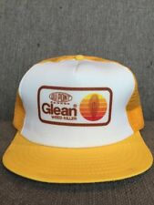 Vtg DuPont Canada Glean Trucker Hat Mesh Snap Back 80's Farm Weed Killer Yellow