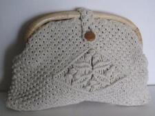 Vintage 1970's Macrame Clutch Purse Handbag Mr. Ernest Wooden Handle + Button