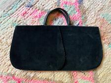 Comme Des Garcons Vintage Raw Edge Black Cotton Velor Leather Hand Bag Clutch
