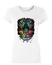 Neon Dripping Tiger Face Cotton T-Shirt Wildlife Rave Music