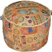 Indian Round Pouf Cover Patchwork Embroidered Dorm Ottoman Room Cotton Khaki