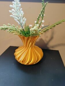 """Gold Colored Vase, 5 1/2""""H x 5 3/4""""D. 3D printed in PLA plastic"""