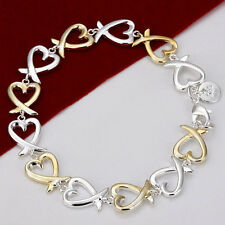 Wholesale Trendy Lady Jewelry 925silver Hollow Heart Bracelet Bangle Xmas Gift