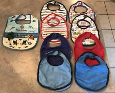 Lot of 9 Boys Infant Small Bibs Babies R Us Solids & Prints Vehicles