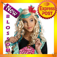 W159 Lagoona Blue Monster High Girls Fancy Dress Halloween Party Costume Wig