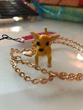 Betsey Johnson Necklace Chihuahua Dog Crystals Adorable Gift Box & Organza Bag