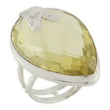 Traditional Silver Pear Cut Lemon Quartz Cocktail Ring Womens Gift Jewelry UK