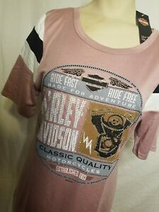 HT4472DPK Harley Davidson Women Run Around Embellished Scoop Neck Shirt BLING