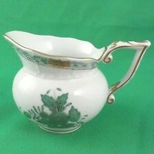 "CHINESE BOUQUET Herend Green Creamer 3.5"" tall NEW NEVER USED Hungary 24kt Gold"