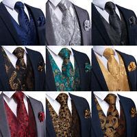 Silk Jacquard Mens Vest Necktie Ring Bowtie Hanky Cufflinks Brooch Paisley Set