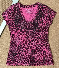Juicy Couture Animal Print Pink Black Glitter sparkle Bling Tee V Neck Size S