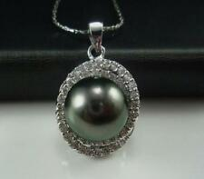 12-13MM TAHITIAN BLACK NATURAL PEARL Rose Gold PENDANT WHITE NECKLACE 17-18""