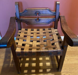 Spanish Revival Wood Chair/ Leather Seat & Straps by Artes De Mexico Interna