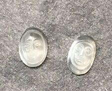 2 Tiny Carved Antique Moonfaces Ceylon Blue Moonstone 5/3mm #5