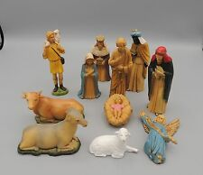 Vintage Art Plastic Nativity Set 11 Pieces Holy Family 3 Wise Men Gloria Angel +